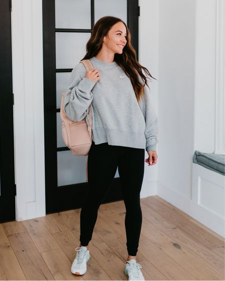 #nsale Nike comfy sweatshirt (wearing small) black Zella high rise leggings shorts on cloud running shoes from Nordstrom anniversary sale. Neoprene backpack @liketoknow.it http://liketk.it/3jUwl #liketkit #LTKfit #LTKsalealert #LTKshoecrush