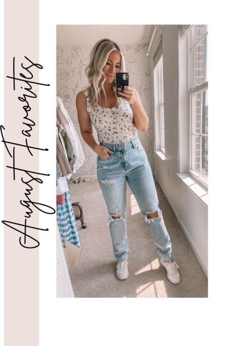 August Favorites - straight leg jeans, floral tank, sneakers, Fall outfits, jeans under $100   #LTKstyletip #LTKunder100