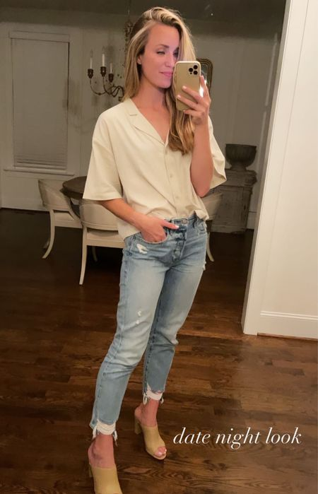 Saturday's date night outfit 🤍 Button up top is out of stock but I linked similar. Jeans run small, size up!