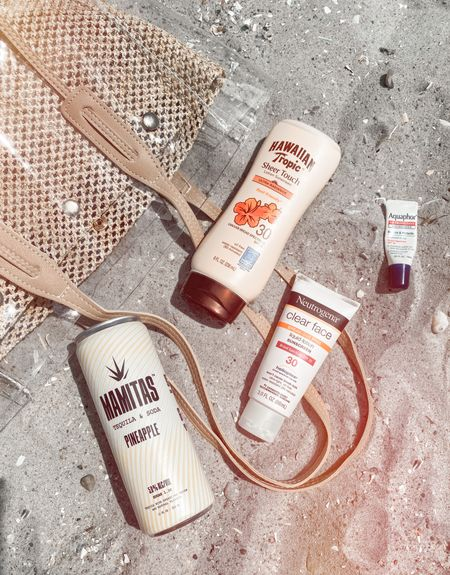 Beach Day Essentials 🏖 💛 Aquaphor Lip Repair SPF 💛 Neutrogena Clear Face Sunscreen  💛 Hawaiian Tropic Sheer Touch Sunscreen  💛 Easy to clean beach bag from Shein  #LTKtravel #LTKSeasonal #LTKunder50