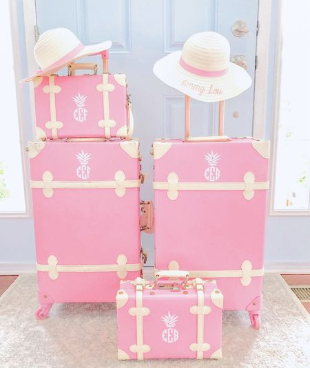 Travel / Pink suitcases / kids / pink / monogram / pineapple / mommy and me / sisters / kid travel   #LTKfamily #LTKkids #LTKtravel