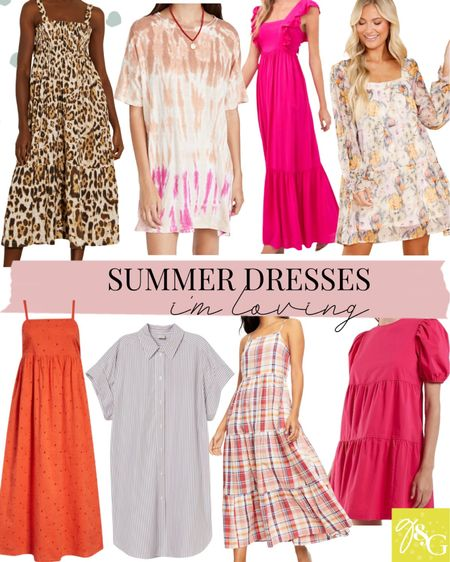 Summer dresses// plaid dress, eyelet dress, leopard dress, tshirt dress, wedding guest dresses   #LTKstyletip #LTKunder50 #LTKunder100