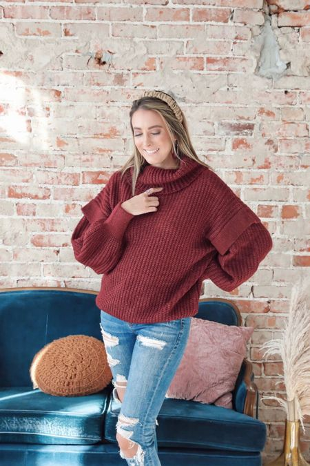 Cute burgundy ruffle sweater for Christmas winter holiday activities great for a gift http://liketk.it/32SO7 #liketkit @liketoknow.it #LTKgiftspo #StayHomeWithLTK #LTKunder50