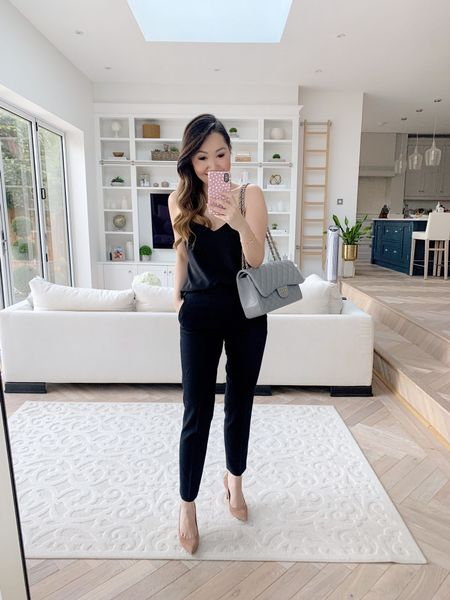 The perfect work pants! Simple black tailored work pants / trousers that still feel fresh and modern 😍   Took a UK size 8 / US size 4 in the pants, an XS in the cami ❤️