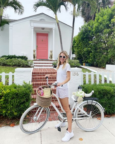Bike riding- favorite white sneakers and go-to workout shorts! Size up 1/2 size on shoes! @liketoknow.it #liketkit http://liketk.it/3hajr #LTKfit #LTKunder100