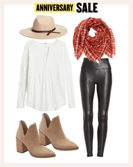 Fall casual look for all the outdoor activities the season brings. This scarf brings a beautiful punch of color to the look with the faux leather leggings and neutral booties. Size up a half size in the booties. If you're between sizes in the leggings, go up one.   #LTKshoecrush #LTKsalealert #LTKstyletip