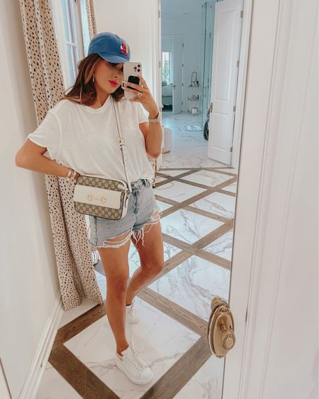 Emily Ann Gemma, 4th of July Outfit, Patriotic Outfit, Casual Summer Outfit 2021, Summer Hat , Best White Tee, Denim Shorts, What to wear summer 2021, Gucci Handbag, Summer Handbags, Summer Jewelry, Patriotic Hat, Anthropologie, LA baseball cap, Red white and blue,  http://liketk.it/3iqTD #liketkit @liketoknow.it
