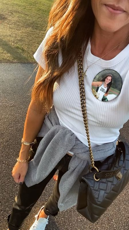 My Friday football night look. These coated pants are comfy but make a fun statement!! Added a little white tee and sweatshirt.  0 pants XS/S tee  #LTKSeasonal #LTKunder100 #LTKstyletip