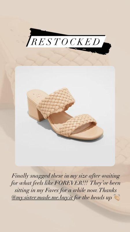 Woven braided wide two strap block heel sandal, nude chunky heeled sandals, affordable target style  #LTKstyletip #LTKunder50 #LTKshoecrush