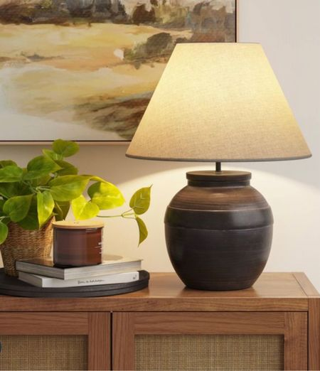 Round tray, candle, faux plant, large ceramic jar table lamp, wall art, wicker cabinets- front entryway decor, living room home decor neutral home Target home finds  #LTKunder50 #LTKstyletip #LTKhome