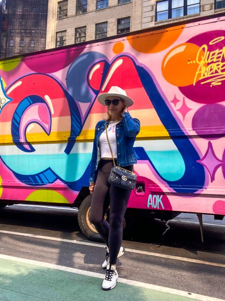 When you see some cool art on a truck you stop and take a pic. Shop these #leggings and my fav #denimjacket   #LTKcurves #LTKshoecrush #LTKtravel