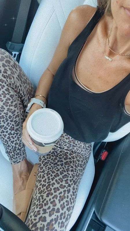 Soft high waisted leopard leggings  Black bubble tank  Ribbed bralette (so comfortable)  Leather slides (SHANNON15 for 15% off)  For school drop off   #LTKstyletip