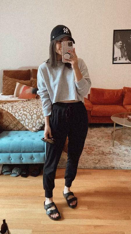 Casual outfit School drop off  Joggers Birks Hat Sunglasses Casual outfit Grey sweatshirt   #LTKstyletip #LTKunder100 #LTKSale