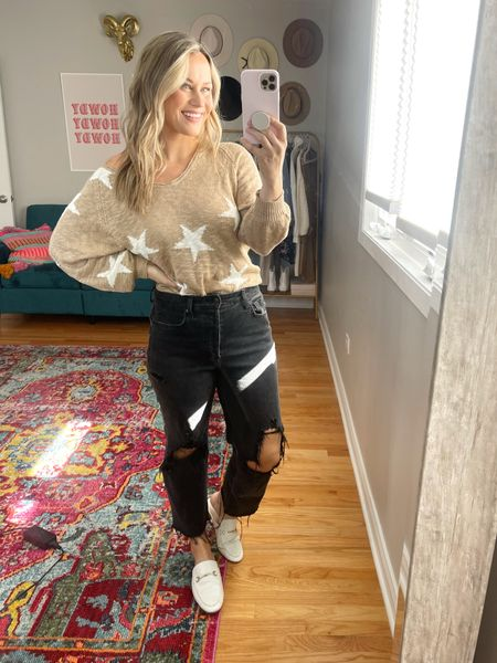 sweaters for fall: this off the shoulder star sweater and white mules are amazon finds, my mom jeans are under $25!  #LTKstyletip #LTKunder50 #LTKshoecrush