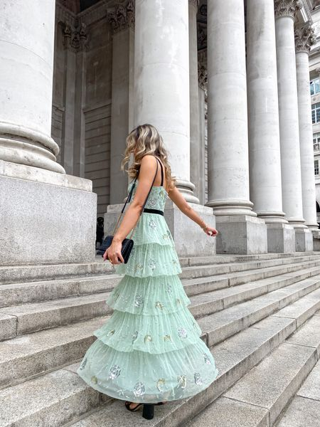 How stunning is this Coast Oasis velvet trim embellished tiered maxi dress, which is the perfect occasionwear dress or wedding guest number. Honestly this dress makes me feel like a real life princess 👑 it also comes in a blush pink too   #LTKwedding #LTKeurope