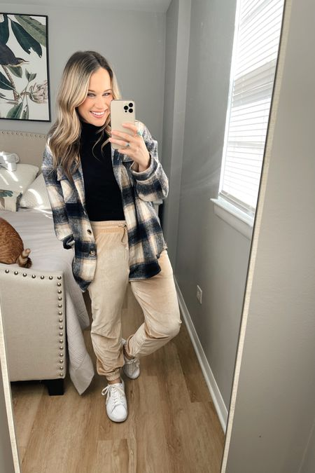 Amazon fashion finds: how to style this amazon shacket #4 THESE JOGGERS! the cutest amazon find, they are part of a matching loungewear set, my black turtleneck is an amazon find and I linked my white sneakers, they are on sale right now! http://liketk.it/36AQV #liketkit @liketoknow.it #LTKstyletip #LTKfit #StayHomeWithLTK