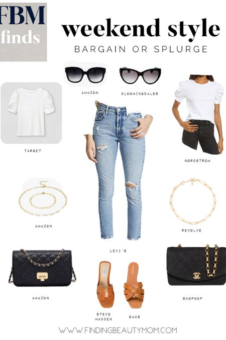 Save vs splurge, weekend style, classic outfit, brunch, white tee shirt, puff sleeve, Chanel dupe, http://liketk.it/3dMzS #liketkit @liketoknow.it finding beauty mom #LTKunder100 #LTKstyletip