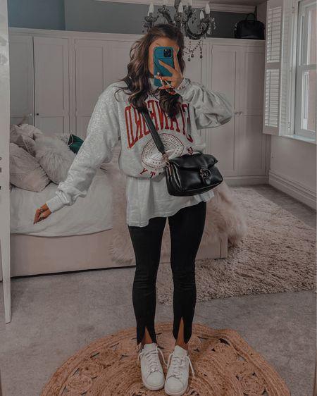 Autumn fall outfit ideas Missguided Oversized vintage college sweatshirt  Oversized white tshirt Ankle slit legging   #LTKshoecrush #LTKeurope #LTKstyletip