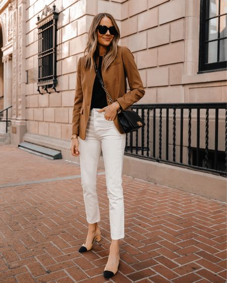 How to wear white jeans after Labor Day. Pair with a tan blazer for an effortless business casual fall outfit idea #falloutfit #teacheroutfit #workwear #blazeroutfit   #LTKunder100 #LTKstyletip #LTKsalealert