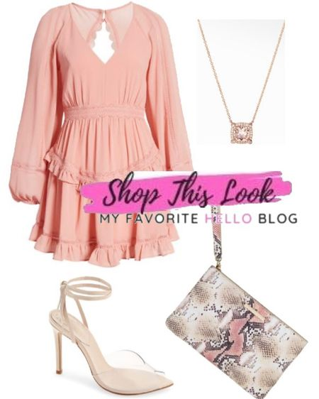 Pink dress with clear nude shoes wedding guest dresses outfit http://liketk.it/3ioia #liketkit @liketoknow.it #LTKstyletip #LTKwedding #LTKunder100