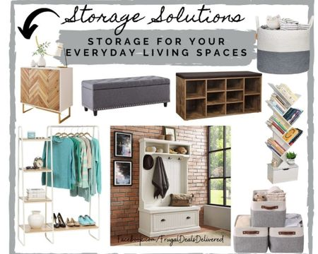 Storage solutions for your everyday living - bookcase, ottoman, mud room bench, baskets and more for the living and dining room and playrooms and bedrooms!   Screenshot this pic to get shoppable product details with the LIKEtoKNOW.it shopping app make sure you follow FrugalDealsDelivered for more ideas and collage inspiration! http://liketk.it/3b7z6 #liketkit @liketoknow.it #StayHomeWithLTK #LTKhome @liketoknow.it.home #LTKSpringSale