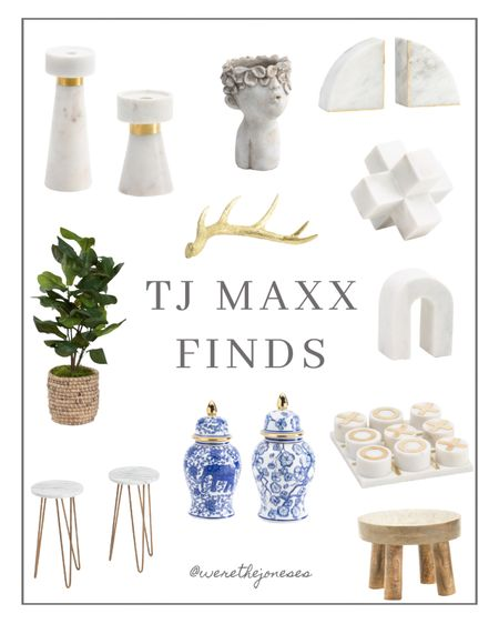TJ MAXX finds ✨  . . Blue and white decor, home decor, ginger jar, chinoiserie, marble decor, candle sticks, fiddle leaf fig tree, marble tick tack toe, wood stool, gold antler, head planter, marble top plant stands, marble book ends
