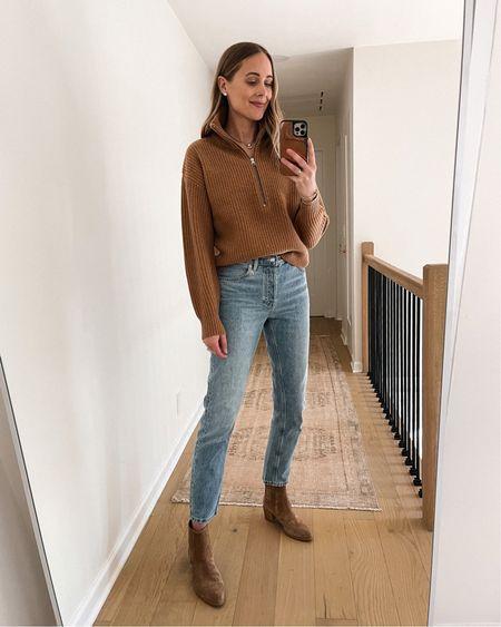 Everlane fall sweater, Everlane jeans, booties, #falloutfits #booties #sweaters   #LTKshoecrush #LTKstyletip #LTKunder100