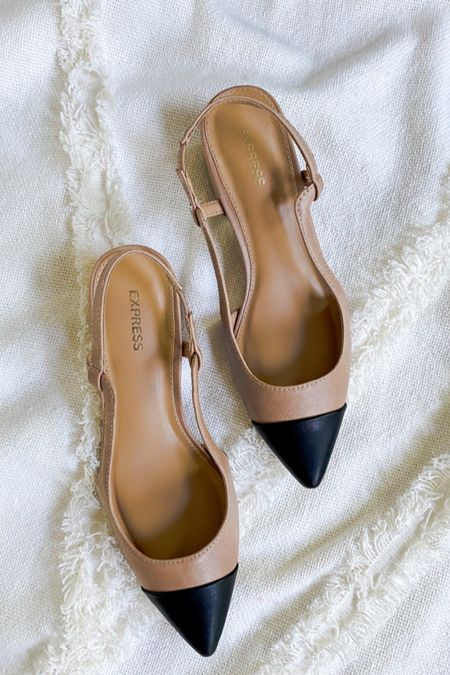 LTK Sale Day, Express finds, Chanel dupes, pointed shoes, wear to work, Black and Tan shoes, low heel shoes, finding beauty mom, neutral outfit essentials, finding beauty mom  #LTKSale #LTKunder100 #LTKshoecrush