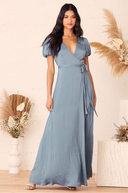 Dusty blue satin maxi puff sleeve wrap dress with slit  Engagement session dress Wedding guest dress  #LTKwedding #LTKunder100