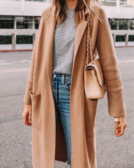 Camel coatigan, grey sweater, jeans, #falloutfit #capsulewardrobe   #LTKstyletip #LTKunder100 #LTKunder50