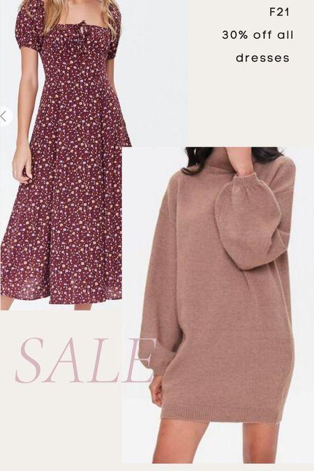 Forever 21 30% off fall dresses- floral dress, boho dress, midi dress, sweater dress, turtleneck dress, fall dress   #LTKunder50 #LTKsalealert #LTKunder100