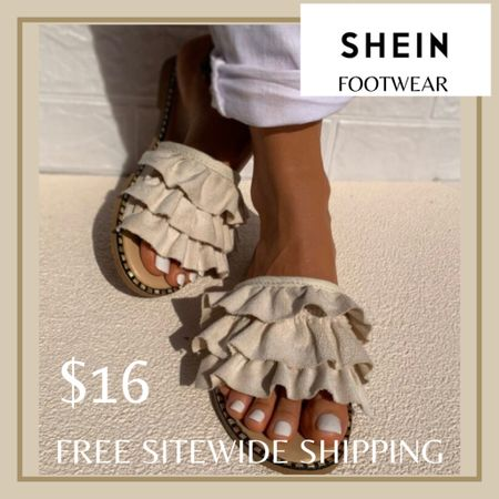 Layered ruffle slide sandals from Shein and free sitewide shipping today   http://liketk.it/3hZdh #liketkit @liketoknow.it #LTKunder50 #LTKshoecrush #LTKstyletip You can instantly shop my looks by following me on the LIKEtoKNOW.it shopping app