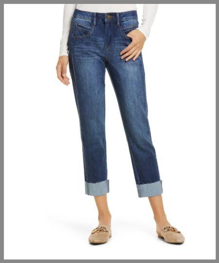 Dark wash high-waisted jeans in Nordstrom anniversary sale. then I'm capris, cuffed pants, 3/4 length jeans.  #LTKsalealert #LTKunder50 #LTKSeasonal