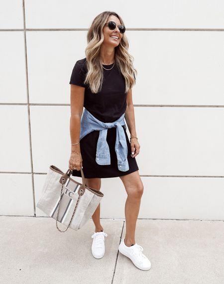 Black t-shirt dress with denim shirt and white sneakers, personalized tote bag, Herfashionedlife   #LTKtravel #LTKunder100 #LTKsalealert
