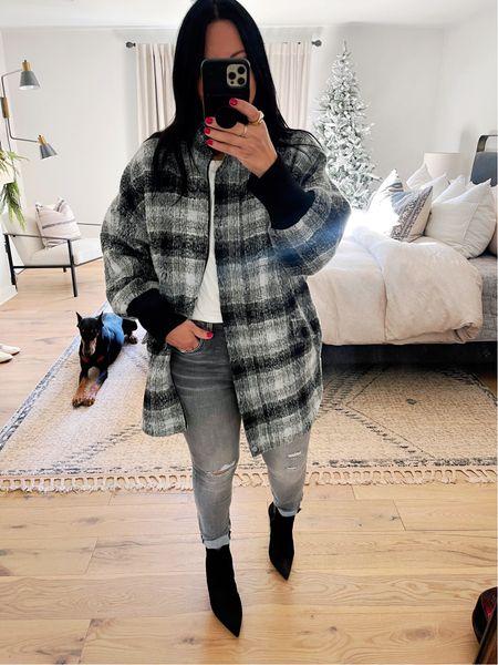 Jacket/size medium (runs big). Top/size large. Jeans/size 10. Shoes/fit TTS.   #LTKcurves #LTKHoliday #LTKshoecrush