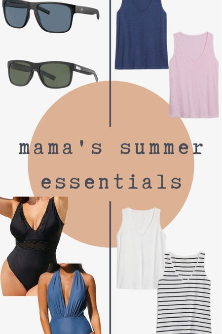 Summer essentials for a nursing mama. Suits are $28, thanks are $10 and under. Sunnies are splurge!  http://liketk.it/3h8JN #liketkit @liketoknow.it #LTKcurves #LTKfamily #LTKunder50