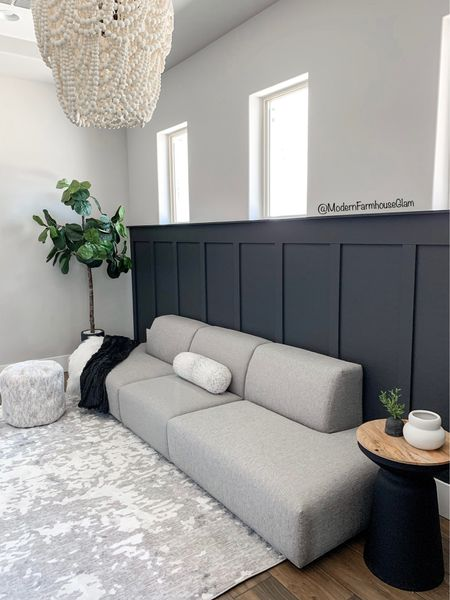 Our Game Room furniture, natural area rug and beaded Chandelier at Modern Farmhouse Glam. Coupon code MFG60 for 60% off rugs sitewide Home decor. Black accent table. Coffee table. McGee and Company, target home, white vase, dark grey black paint colors   #LTKSeasonal #LTKhome #LTKsalealert
