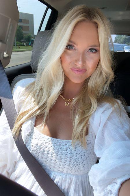 Little white crochet summer dress and glowy makeup       #LTKbeauty