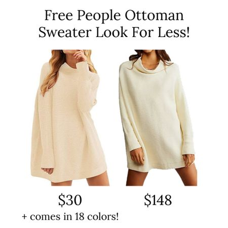I love free people sweaters, but they can get pricey! This Amazon look for less is a great option for the free people ottoman tunic sweater, it's only $30 right now and comes in 18 colors!  . Amazon finds mock neck sweater oversized sweater sweater dress    #LTKunder50
