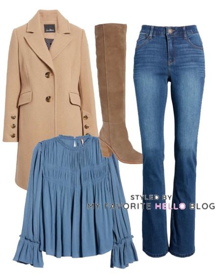 Fall family photoshoot Camel coat winter outfit with over the knee boots   #LTKshoecrush #LTKstyletip #LTKunder100