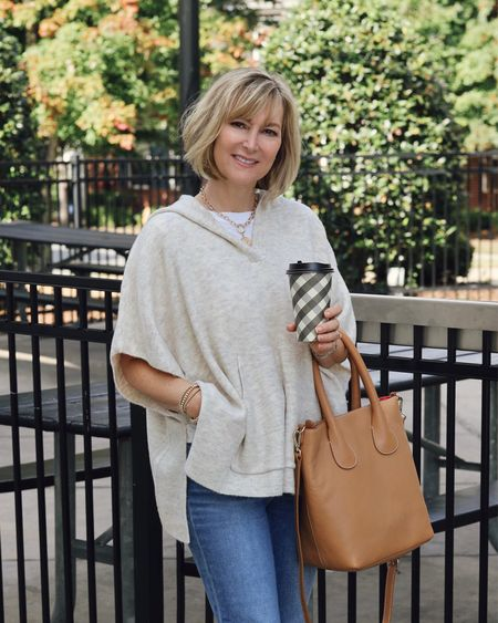Loving the lightweight and oh so soft poncho for fall! Layer it over shirt or long sleeves depending on the weather.  #LTKSeasonal #LTKstyletip #LTKsalealert