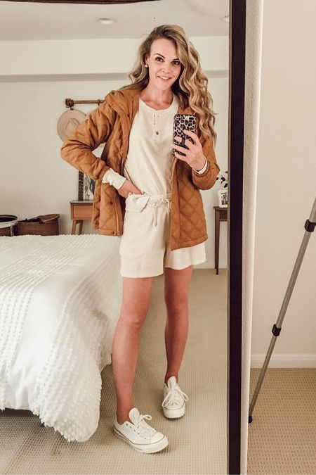 Light-weight puffer jacket (fits TTS) made from recycled products. Toffee shade. Casual coffee outfit with wafflestich Henley & matching shorts + sneakers. #casualstyle #fallstyle #momstyle   #LTKSeasonal