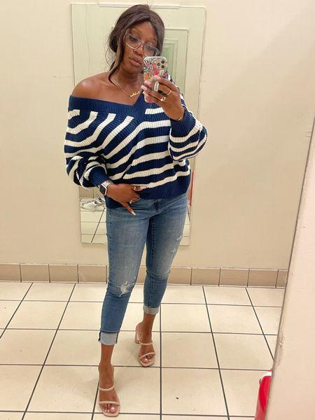 Fall fashion transitional pieces Oversized sweater  Jeans Sandal heels  #LTKSeasonal #LTKshoecrush #LTKunder100