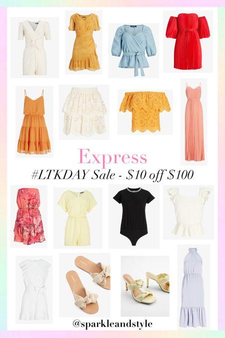 LTK Day Sale: Express - $10 off $100    http://liketk.it/3hvxZ @liketoknow.it #liketkit #LTKDay #LTKunder100 #LTKsalealert   Summer styles, summer fashion, summer clothes, summer rompers, summer dresses, summer tops, wedding guest dress, pleated dress, midi dress, bodysuit top, floral dress, p f sleeve top, wrap top, ruffle dress, tiered dress, lace eyelet skirt, lace eyelet top, off the shoulder top, maxi dress, strapless floral dress, loungewear set romper, ruffle top, little white dress, lwd, bow sandals, bow shoes, braided heels, halter neck dress