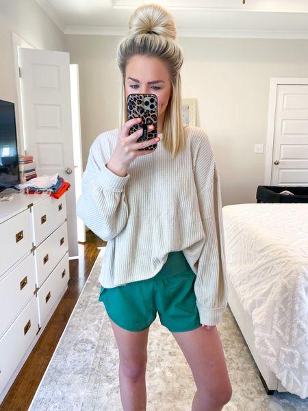 Walmart fall fashion, Walmart casual outfit, $12 Lululemon shorts dupe (SM), thermal waffle knit tee (XS)   #LTKunder50 #LTKSeasonal