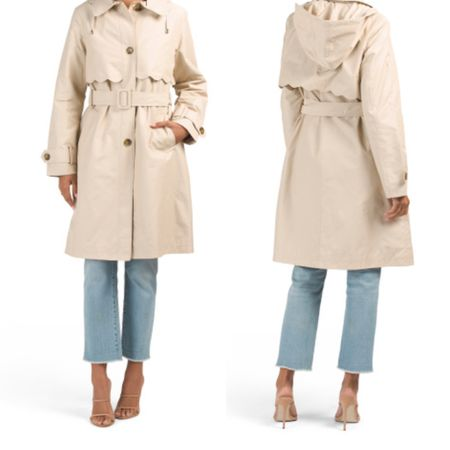 Scalloped trench with hood. I just ordered size XS to try.   #LTKworkwear #LTKsalealert
