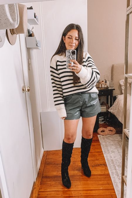 Goodnight macaroon try on haul  Striped sweater Faux leather shorts Knee high boots  Fall outfits   CAREY40 for 40% off!   #LTKSeasonal #LTKunder100 #LTKsalealert