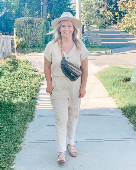 Summer outfits.  Sandals.  Jumpsuit.  I'm wearing the size Large. Fits true to size and if you have a long torso like me and can never find a jumpsuit that fits, this one will! Shop my daily looks by following me on the LIKEtoKNOW.it shopping app http://liketk.it/3h3Jh #liketkit @liketoknow.it #LTKunder50 #LTKstyletip #LTKsalealert