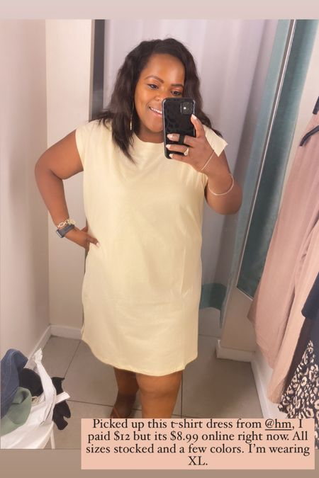 This yellow t-shirt dress for under $10 is perfect for Summer ! I'm wearing the XL.   #LTKcurves #LTKsalealert #LTKunder50