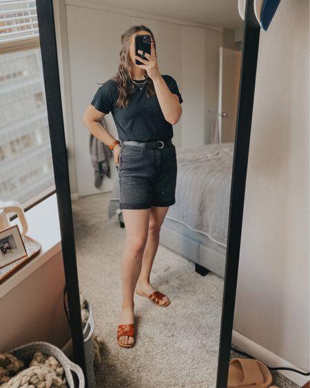 Black denim shorts | monochrome outfit | monochrome summer | neutral closet   http://liketk.it/3hXk3 @liketoknow.it #liketkit #LTKstyletip #LTKunder50 #LTKunder100
